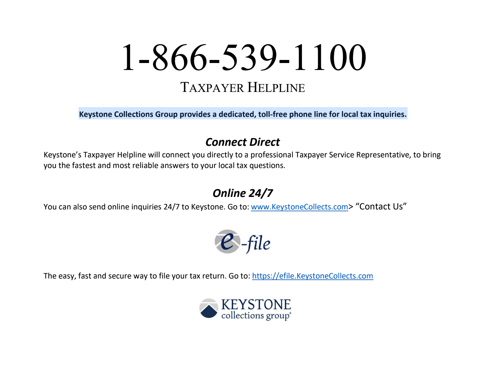 Keystone Collections Group help line information