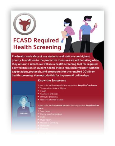 FCASD Required Health Screening for Students