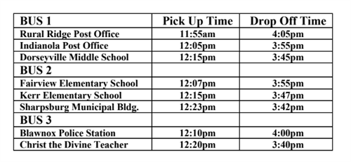 Fox Chapel Area freshman orientation bus schedule