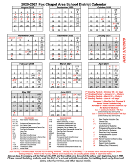 Fox Chapel Area school calendar 2020-2021
